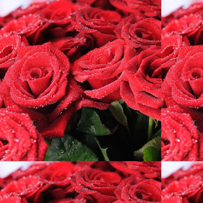 Tapeta Pixerstick Krásné červené růže s malými kapkami rosy. - Květiny