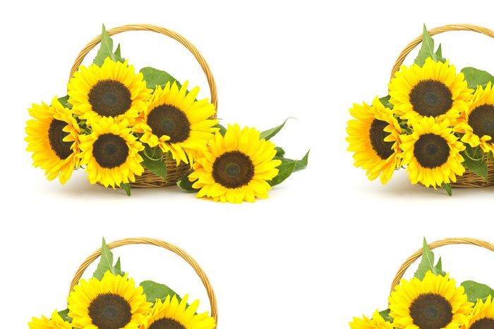 Tapeta Pixerstick Krásné slunečnice kytice v koši (Helianthus) - Květiny