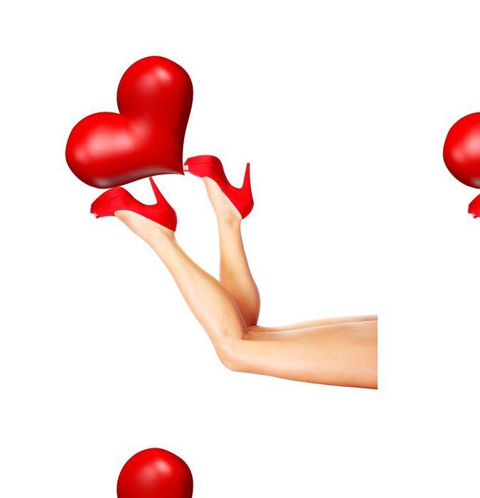 Tapeta Pixerstick Krásné ženské nohy drží srdce - Témata