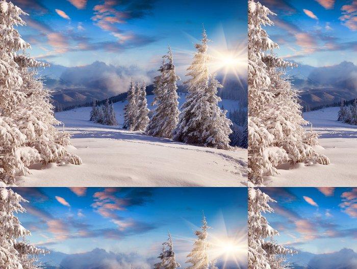 Tapeta Pixerstick Krásné zimní sinrise sněhem pokryté stromy. - Styly