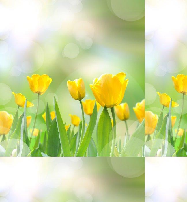 Tapeta Pixerstick Krásné žluté tulipány s ohledem promítnout do rána - Roční období