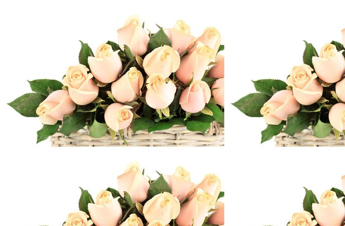 Tapeta Pixerstick Krásnou kytici růží v koši, izolovaných na bílém - Květiny