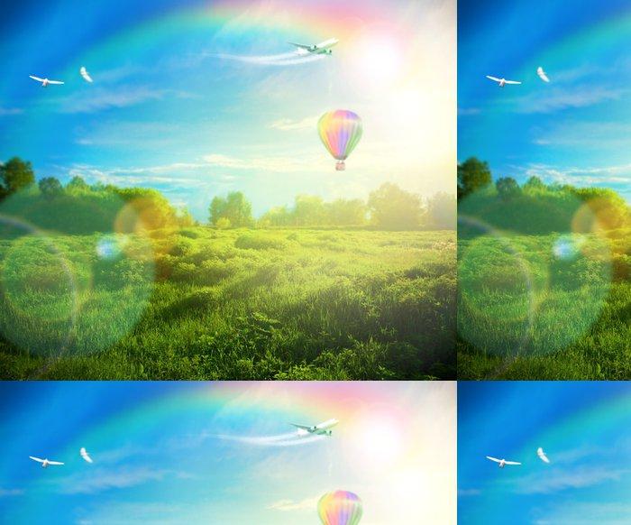 Tapeta Pixerstick Krásný obraz ohromující západu slunce s atmosférickými mraky a S - Venkov