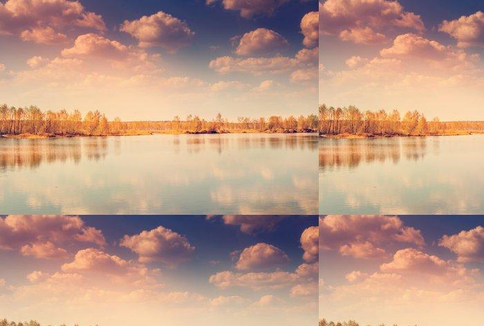 Tapeta Pixerstick Krásný podzimní krajinu, lesů a rybníků - Evropa