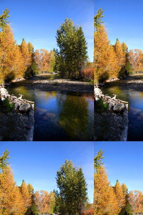 Tapeta Pixerstick Krásný potok v lese na podzim čas - Voda