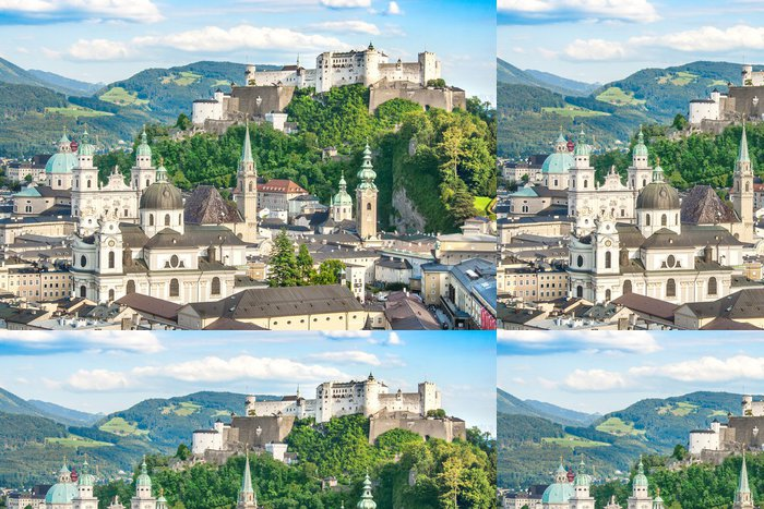 Tapeta Pixerstick Krásný výhled na historické město Salzburg, Rakousko - Evropa