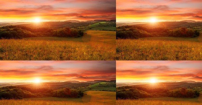 Tapeta Pixerstick Krásný západ slunce na poli - v odstínech oranžové - Témata