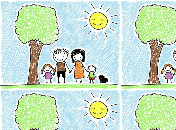 Tapeta Pixerstick Kresba rodina dítěte - Rodinný život
