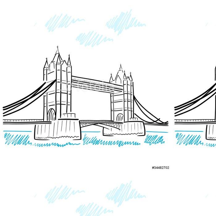 Tapeta Pixerstick Kresba tower bridge v londýně II - Evropská města