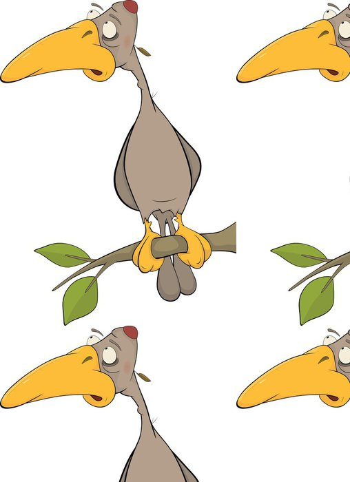 Tapeta Pixerstick Kreslený datel na stromě. Cartoon - Ptáci