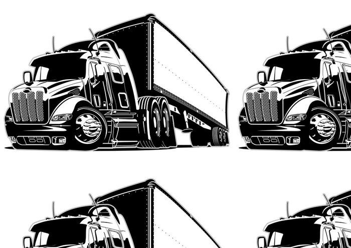 Tapeta Pixerstick Kreslený semi truck - Na cestě