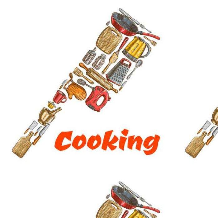 Tapeta Pixerstick Kuchyň sekera sekera znak z kuchyňského nádobí - Jídlo