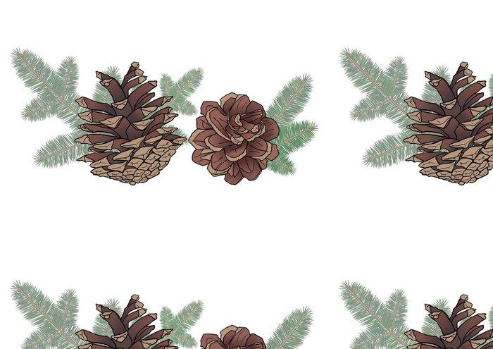 Vinylová Tapeta Kužele a smrkové větve - Roční období