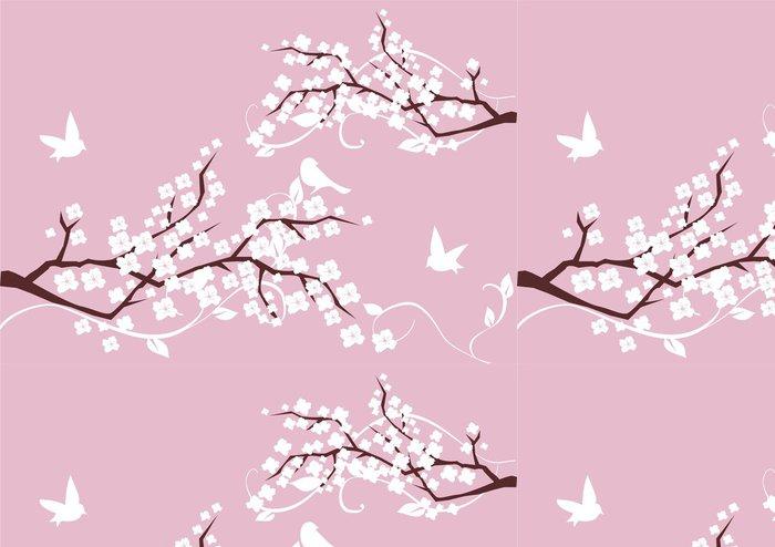 Tapeta Pixerstick Květ větve s bílými květy a ptáci - Imaginární zvířata