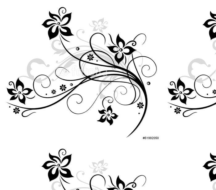 Tapeta Pixerstick Květina, Vine, černá, šedá - Nálepka na stěny