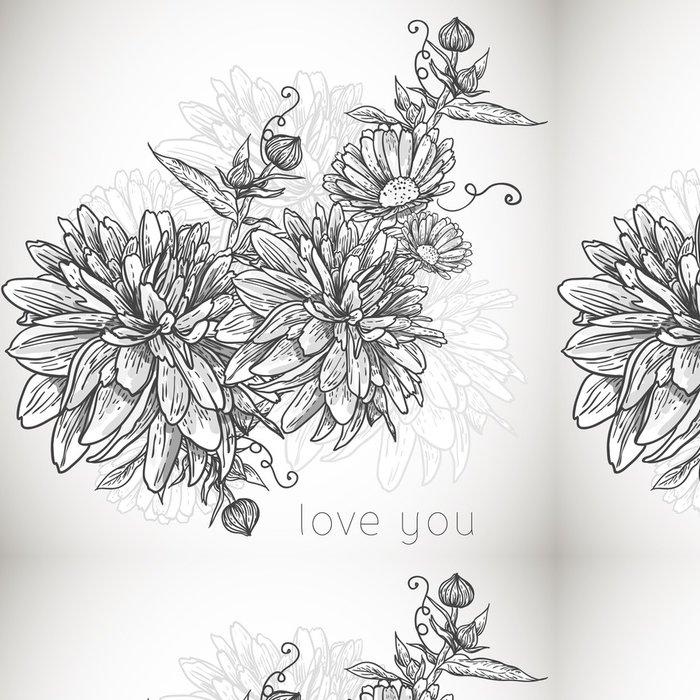 Tapeta Pixerstick Květinová monochromatický bezešvé pozadí s kvetoucí květiny - Finance