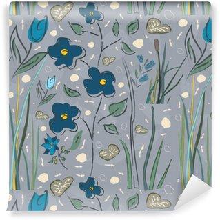 Vinylová Tapeta Květinové bezešvé vzor. ručně kreslenými