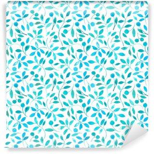 Vinylová Tapeta Květinové bezešvé vzorek s tyrkysovými větvemi a bobule.watercolor ručně tažené illustration.white pozadí.