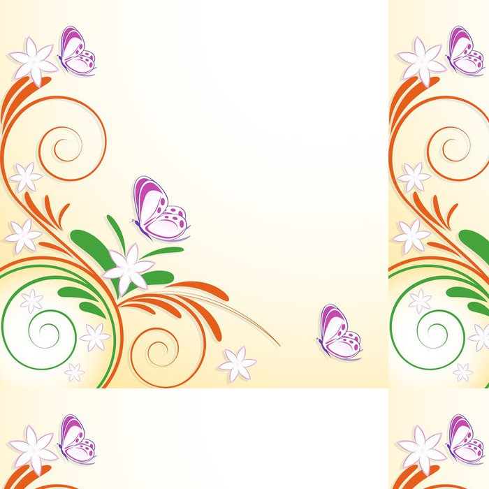 Tapeta Pixerstick Květinové dekorace motýli - Roční období