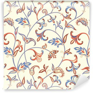 Vinylová Tapeta Květinový vzor bezešvé. Flower spirála pozadí. Arabský ornament s fantastickými květy a listy.