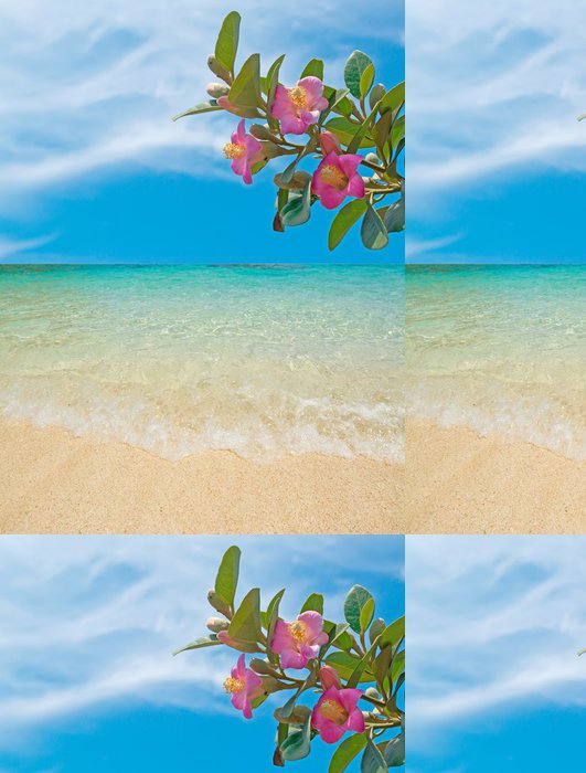 Tapeta Pixerstick Květiny u pláže - Prázdniny