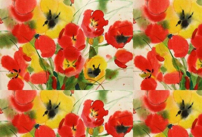 Tapeta Pixerstick Květy tulipánů, akvarel - Květiny