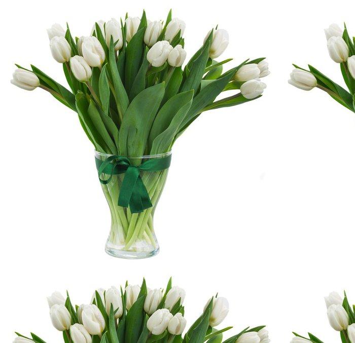 Tapeta Pixerstick Kytice bílých tulipánů ve váze - Květiny
