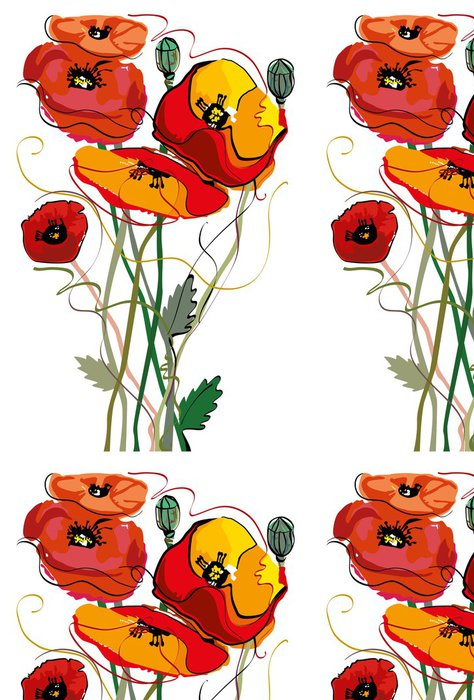 Vinylová Tapeta Kytice s máky - Květiny