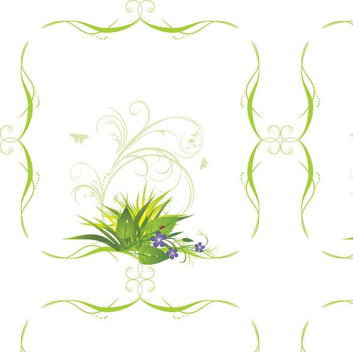 Tapeta Pixerstick Kytice s trávou v dekorativním rámu. Vektor - Značky a symboly