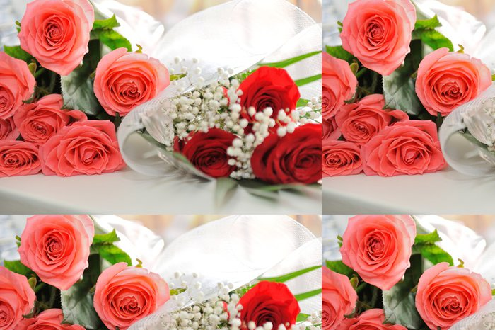 Vinylová Tapeta Kytice z růžové a červené růže zdobené - Slavnosti