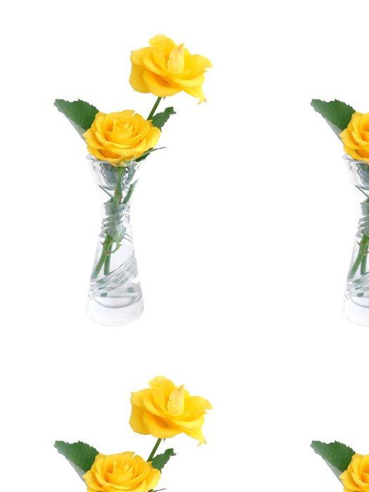 Tapeta Pixerstick Kytici žlutých růží ve váze přes bílé - Květiny