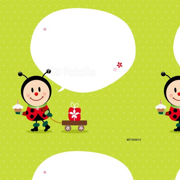 Tapeta Pixerstick Ladybug Cake vozík s dárky Speechbubble Green - Slavnosti