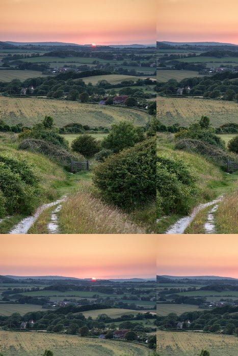 Tapeta Pixerstick Landscape Letní západ slunce pohled na anglickém venkově - Nebe