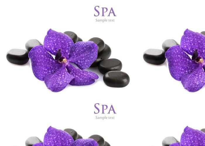 Tapeta Pixerstick Lázeňské kameny a fialový květ, izolovaných na bílém - Květiny