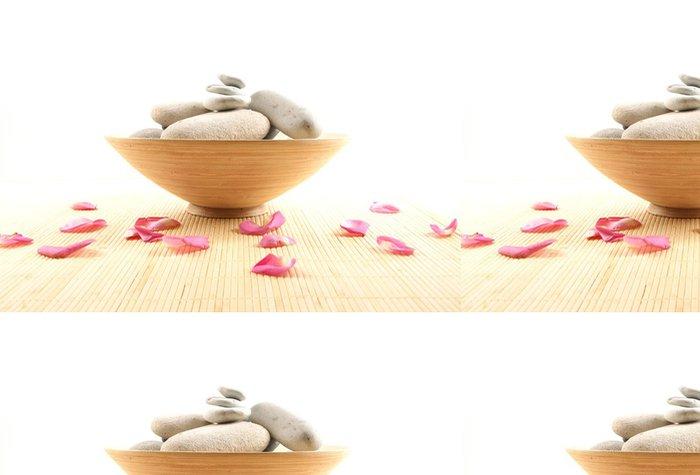 Tapeta Pixerstick Lázně složení lístků, bílé kameny a keramická miska - Životní styl, péče o tělo a krása