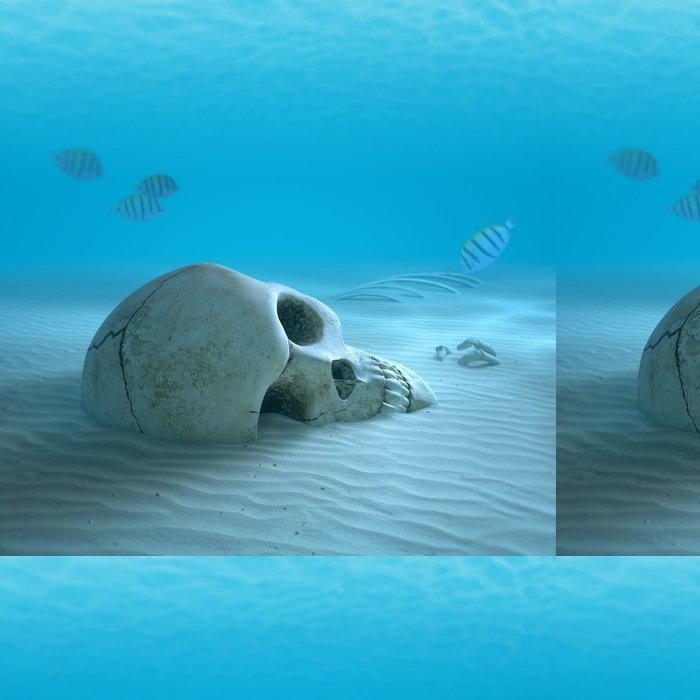 Tapeta Pixerstick Lebka na písčité dno oceánu s malými rybami čištění některé kosti - Témata