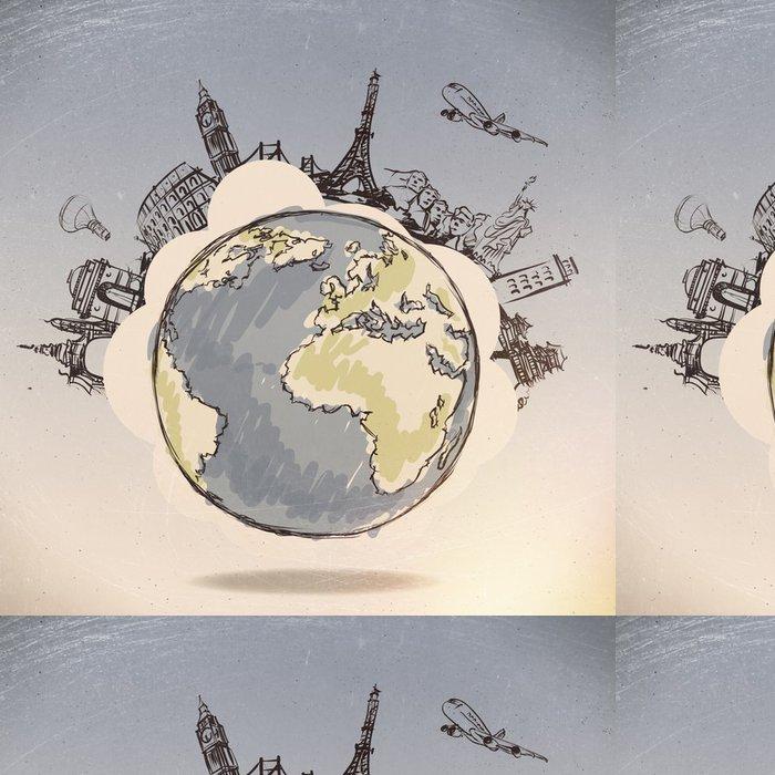 Tapeta Pixerstick Letadlo cestuje po celém světě jako koncept - Životní styl