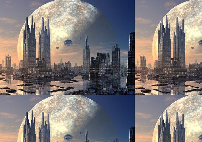 Tapeta Pixerstick Létající talíře nad moderní panoráma města - Meziplanetární prostor