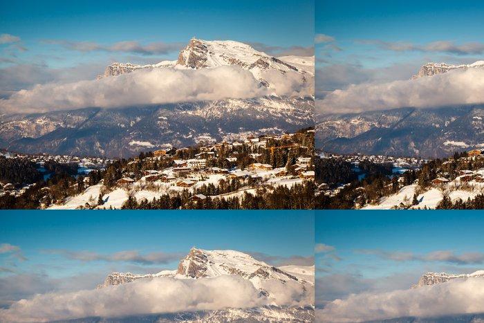 Tapeta Pixerstick Letecký pohled na Ski areál Megeve ve Francouzské Alpy, Francie - Prázdniny