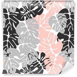 Vinylová Tapeta Letní bezešvé tropické vzorek s barevnými monstera palmové listy na bílém pozadí