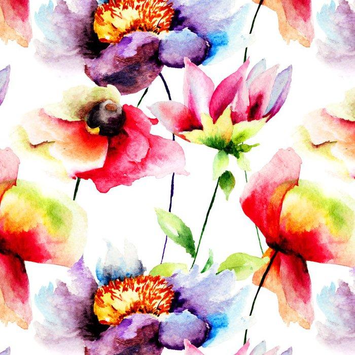 Tapeta Pixerstick Letní bezproblémové vzorek s květinami - Květiny