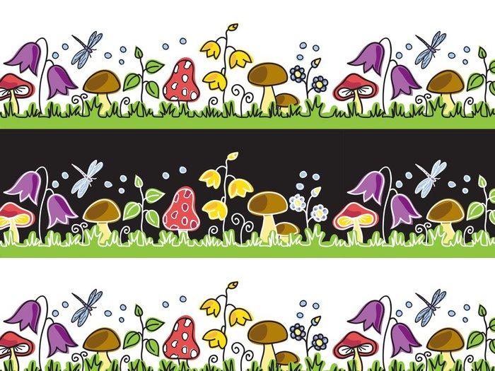 Tapeta Pixerstick Letní květiny a houby na louce - Pozadí