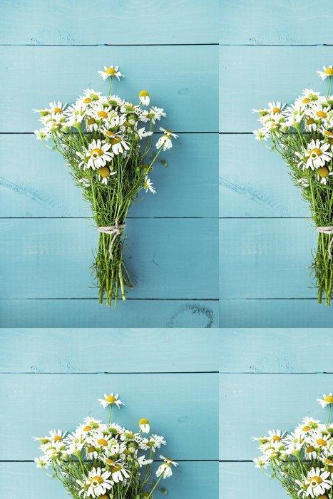 Vinylová Tapeta Letní kytice z heřmánku na staré modré dřevěné pozadí - Domov a zahrada