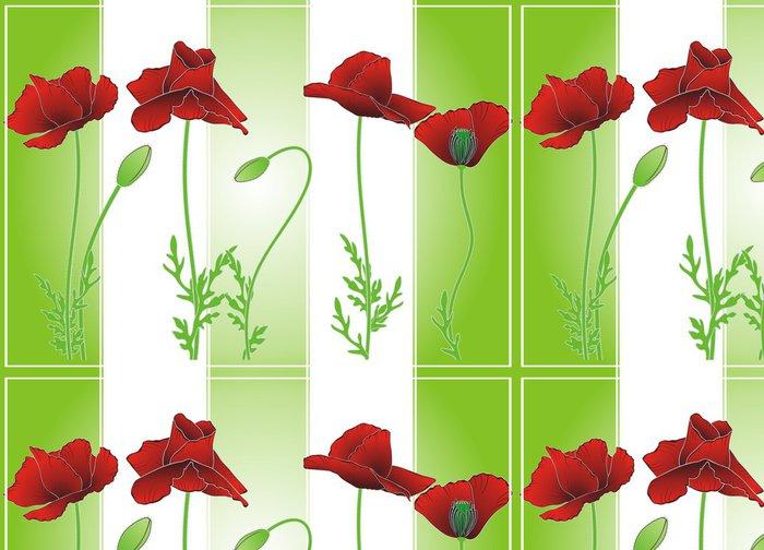 Tapeta Pixerstick Letní máku na zelené pruhy - Roční období