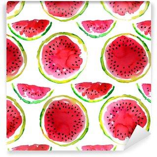 Vinylová Tapeta Letní téma. akvarel vodní meloun bezešvé vzor. ručně kreslenými.