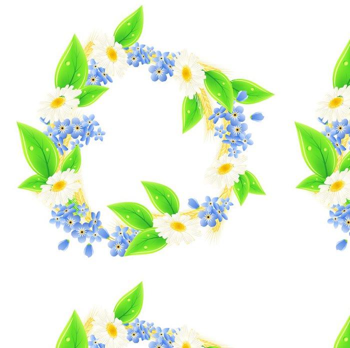 Tapeta Pixerstick Letní věnec s ušima a sedmikrásky - Květiny