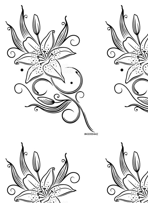 Tapeta Pixerstick Lilie, Lilien, Filigran, feminin, Ranke, Blume, Blüte - Nálepka na stěny