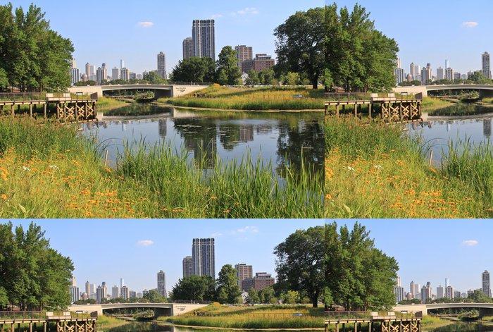 Tapeta Pixerstick Lincoln Park Zoo ukazuje vody, květiny a Chicago skyline - Amerika