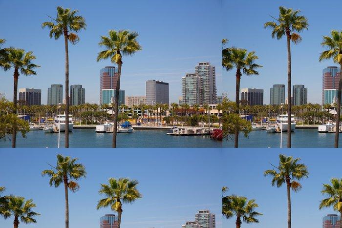 Tapeta Pixerstick Long Beach Kalifornie panorama od palem z přístavu - Témata