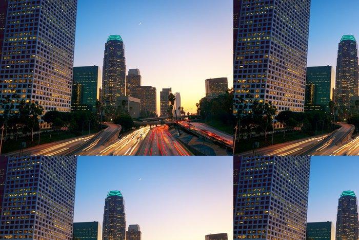 Vinylová Tapeta Los Angeles, Urban City při západu slunce s Freeway Trafic - Témata